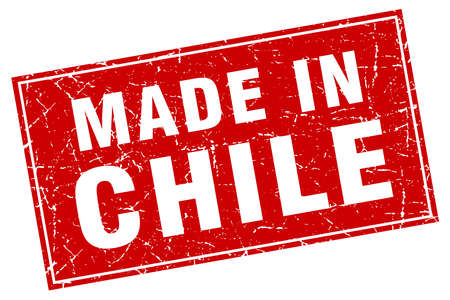 chile: Chile red square grunge made in stamp