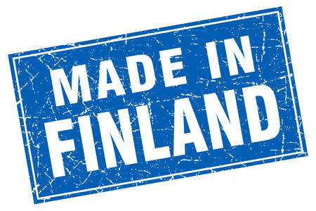 finland: Finland blue square grunge made in stamp