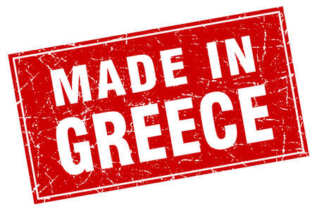made in greece stamp: Greece red square grunge made in stamp