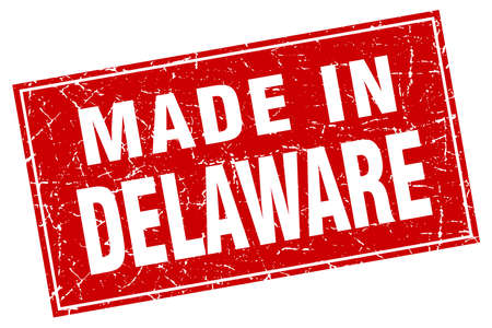delaware: Delaware red square grunge made in stamp