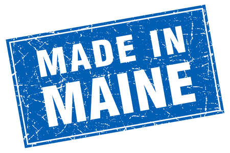 maine: Maine blue square grunge made in stamp