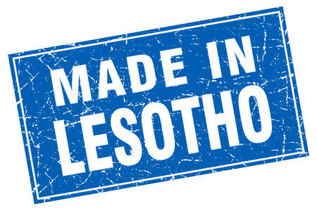 made in: Lesotho blue square grunge made in stamp