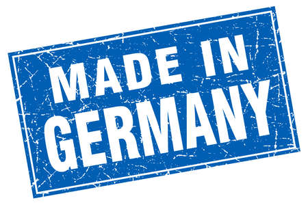 made in germany: Germany blue square grunge made in stamp
