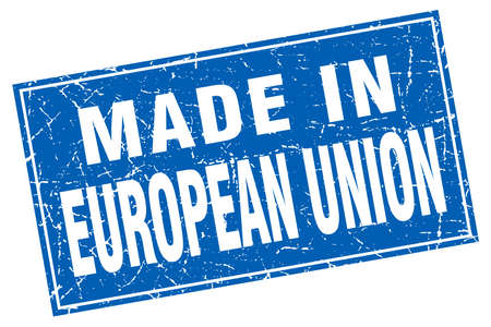 european union: european union blue square grunge made in stamp