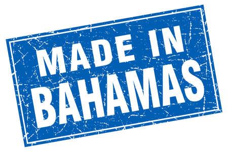 bahamas: Bahamas blue square grunge made in stamp Illustration
