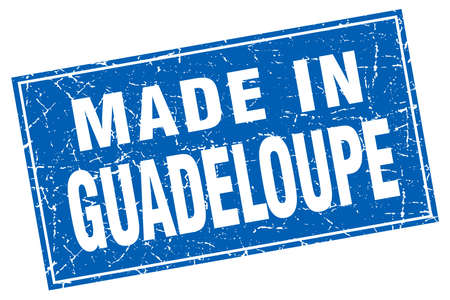 guadeloupe: Guadeloupe blue square grunge made in stamp