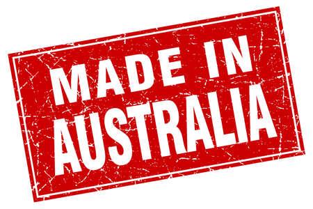 australia stamp: Australia red square grunge made in stamp