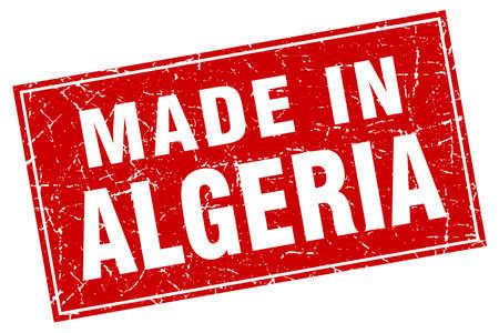 algeria: Algeria red square grunge made in stamp