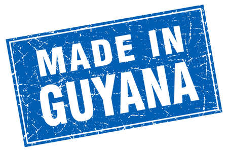 guyana: Guyana blue square grunge made in stamp Illustration