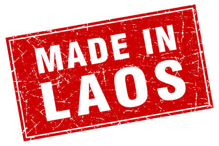 laos: Laos red square grunge made in stamp