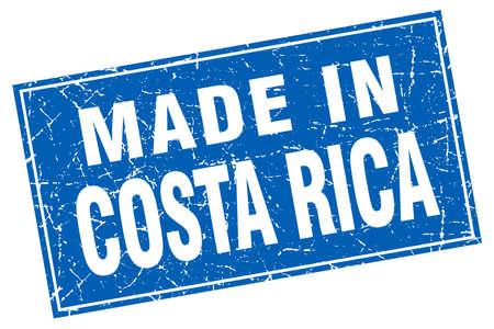 verde: Costa Rica blue square grunge made in stamp
