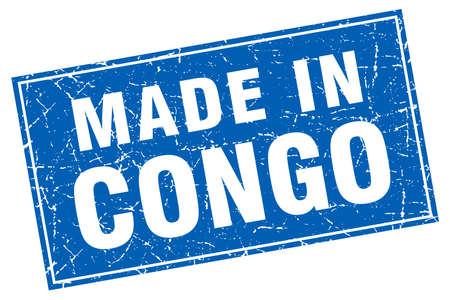 congo: Congo blue square grunge made in stamp
