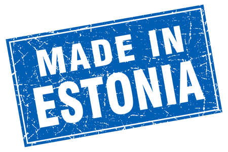 made in: Estonia blue square grunge made in stamp Illustration