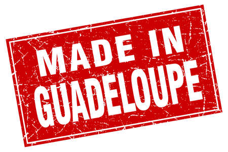 guadeloupe: Guadeloupe red square grunge made in stamp