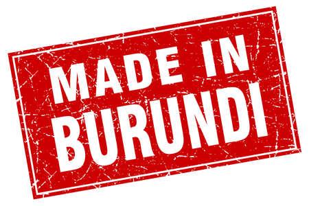 burundi: Burundi red square grunge made in stamp Illustration