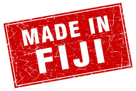 fiji: Fiji red square grunge made in stamp Illustration