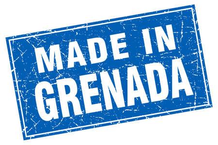 grenada: Grenada blue square grunge made in stamp Illustration