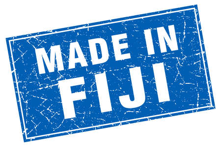 made in: Fiji blue square grunge made in stamp