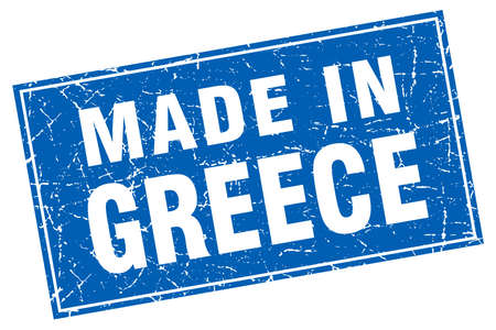 made in greece stamp: Greece blue square grunge made in stamp