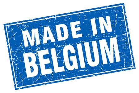 made in belgium: Belgium blue square grunge made in stamp