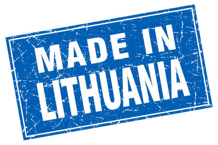 lithuania: Lithuania blue square grunge made in stamp Illustration