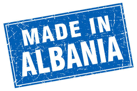 made in: Albania blue square grunge made in stamp Illustration