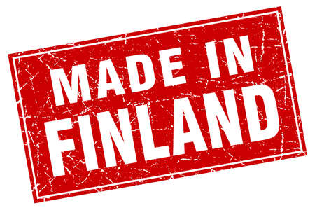 made in finland: Finland red square grunge made in stamp Illustration