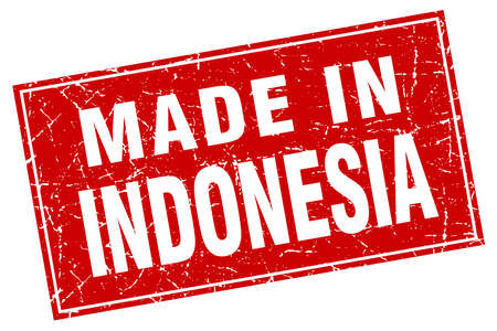 made in: Indonesia red square grunge made in stamp