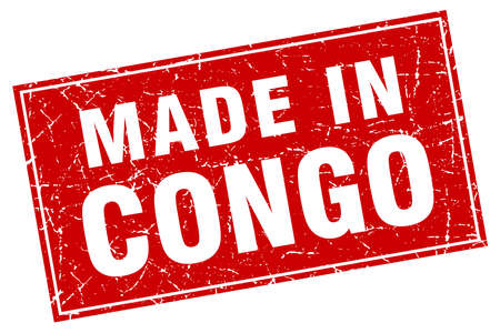 Congo: Congo red square grunge made in stamp