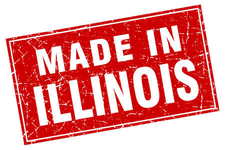 made in: Illinois red square grunge made in stamp