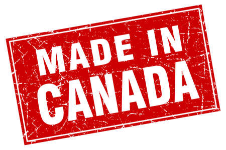 canada stamp: Canada red square grunge made in stamp Illustration