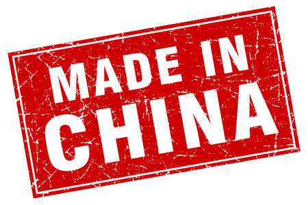 made in china: China red square grunge made in stamp