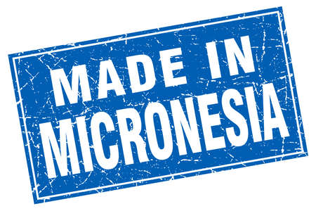 micronesia: Micronesia blue square grunge made in stamp