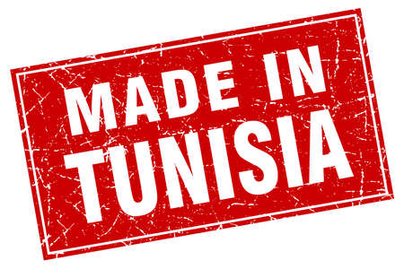 made in: Tunisia red square grunge made in stamp