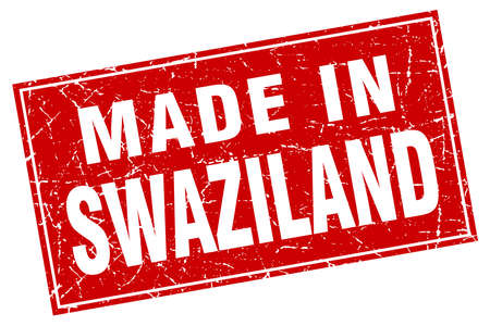 swaziland: Swaziland red square grunge made in stamp Illustration