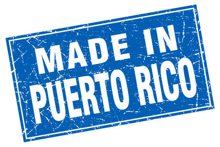 puerto rico: Puerto Rico blue square grunge made in stamp Illustration