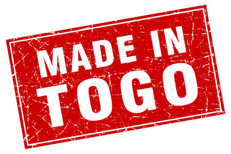 made in: Togo red square grunge made in stamp