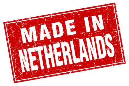 made in netherlands: Netherlands red square grunge made in stamp