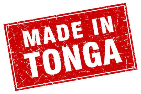 tonga: Tonga red square grunge made in stamp