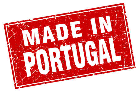 made in portugal: Portugal red square grunge made in stamp Illustration
