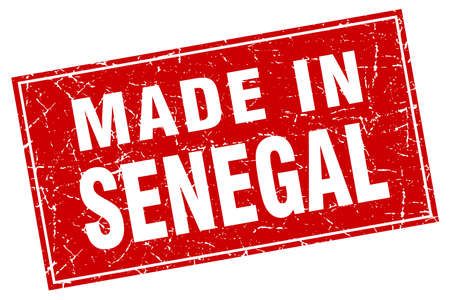 made in: Senegal red square grunge made in stamp