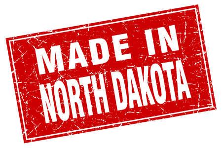 north dakota: North Dakota red square grunge made in stamp