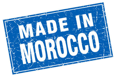 made in morocco: Morocco blue square grunge made in stamp