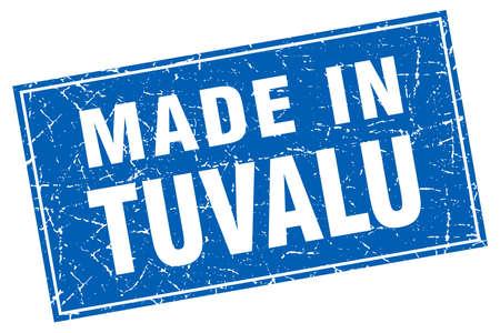 tuvalu: Tuvalu blue square grunge made in stamp