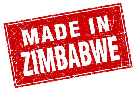 zimbabwe: Zimbabwe red square grunge made in stamp