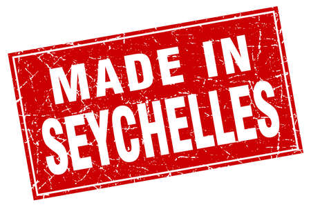 seychelles: Seychelles red square grunge made in stamp