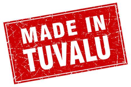 tuvalu: Tuvalu red square grunge made in stamp Illustration