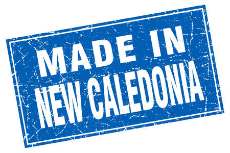 New Caledonia blue square grunge made in stamp