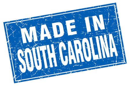 and south carolina: South Carolina blue square grunge made in stamp Illustration