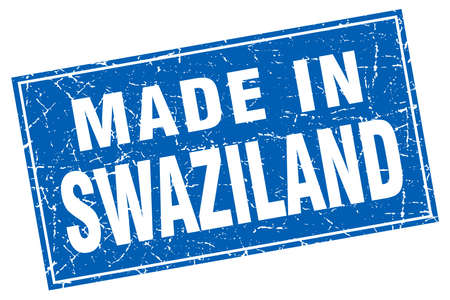 swaziland: Swaziland blue square grunge made in stamp